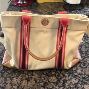 Tory Burch canvas & leather tote